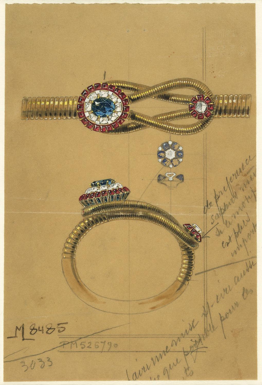 Design for a bracelet, Cartier Paris, 1950. Archives Cartier Paris. © Cartier.