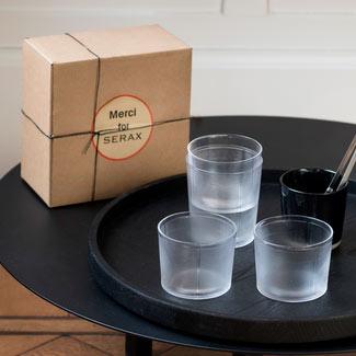 Grand verre en verre texturé - Serax
